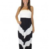 Strapless Black and White Chevron Maxi Dress