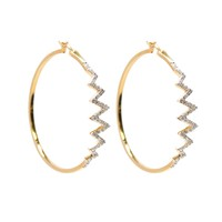 Zig Zag Pave Hoop Earrings