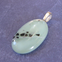 Mint Green Pendant, Oval Pendant, Omega Slide, Mint Green Jewelry - A Touch of Lime - 3280 -1