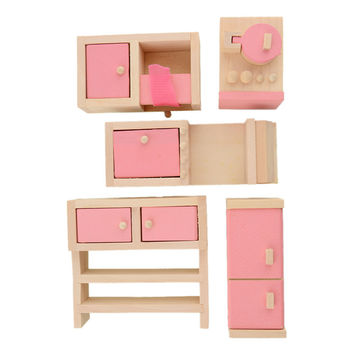 Wooden Doll Furniture-Kitchen House Furniture Toys Dollhouse Miniature For Kids Play Toy