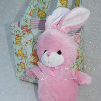 Happy Easter Teeny Tote with Pink Bunny Mint Pastel Easter Basket Tote Gift for Kids