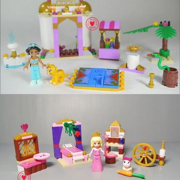 New 10434 Dream Princess Sleeping Aladdin Jasmine Bricks Building Block girls Toys compatible legoes gift kid set diy princess