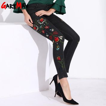 Garemay Stretch Women Jeans With Embroidery Without Ripped Black High Waisted Jeans Plus Size Floral Capris Denim Pants Woman