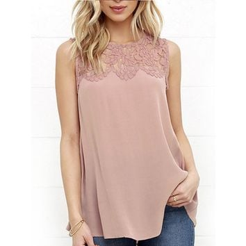 Newstar Girls Solid Sleeveless Blouse Casual Tee Summer Lace Splice Tank Tops for Women