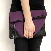 Oversized Foldover Clutch, Large Violet Clutch, Folded Clutch, Violet Clutch Purse, Large Fabric Clutch Bag, Fold Over Clutch Bag