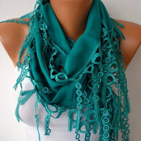 Teal Scarf  -  Pashmina Scarf  - Headband Necklace Cowl with Lace Edge/75862587