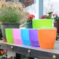 HOME TOOLS Colorful Self Watering Flower Plant Pot Plastic Container Home Garden Office Kit