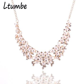 Ltumbe Noble Crystal Pearl Jewelry For Women Wedding Bridal Bijoux Gold Color Hollow Simulated Pearl Collar Statement Necklaces