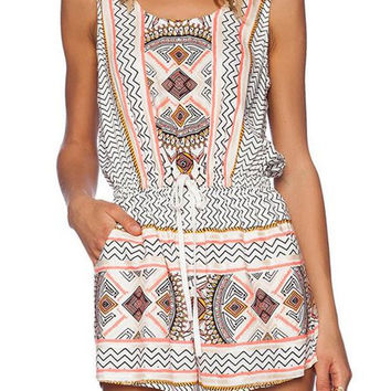 Geometric Print Sleeveless Drawstring Romper