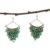 Swarovski Crystal Beaded Oriental Earring Mint Green, Wedding Jewelry, Bright Beaded, Handmade