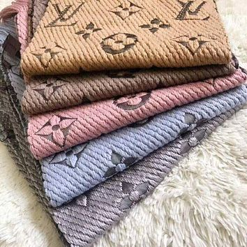LV fashion cashmere knit embroidery printed fringed scarf for men and women