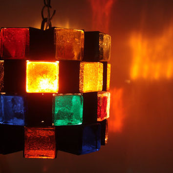 Multi Colored Glass Block Chandelier Mid Century Modern 1 of 2