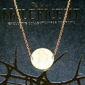 Licensed cool DISNEY MALEFICENT Silhouette CAMEO MEDALLION Necklace GOLD Tone HOT TOPIC PROMO