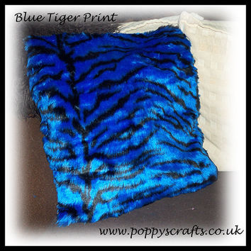 Soft Blue and black tiger stripe animal print Faux fur fluffy fuzzy furry Cushion 16 x 16 Inches ideal for car home or pet