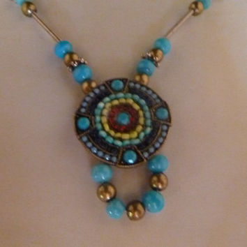 Turquoise Beaded Necklace and Bracelet Set Red Yellow Blue Glass Seed Beads Medallion Dial Pattern Wire and Wood Beads Costume Jewelry