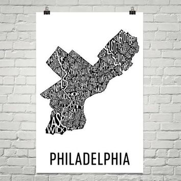 Philadelphia Neighborhood Typography Prints – Modern Map Art