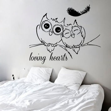 Lovely Owls Wall Decals Loving Hearts Birds on Tree Branch Floral Design Home Feather Vinyl Decal Sticker Kids Nursery Baby Room Decor kk771
