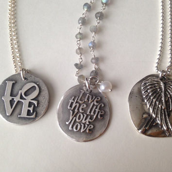 Wax Seal Necklace, Inscribed Live the Life You Love, Fine Silver, Inspirational, Word Quote