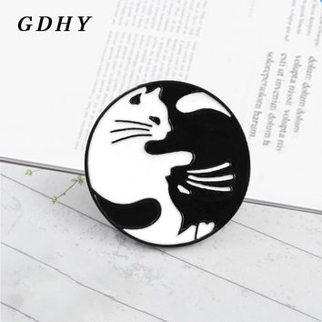 GDHY Hugging Cats Black White Yin Yang Tai Chi Cats Brooches Enamel Pins Jeans Shirt bag For Lovers Friends Badge Accessories