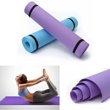 1pcs 6mm Pro Thick Yoga Mat Pad Non-Slip Lose Weight Body Building Exercise Gym Fitness Home Indoor 2 Color To Choose (Color: Purple) = 1932479108