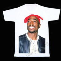 Tupac Smile Color T Shirt Tupac Shakur T Shirt Rock T Shirt Short Sleeves White Tee Women T-Shirt Unisex T-Shirt White T Shirt Size S,M,L,XL