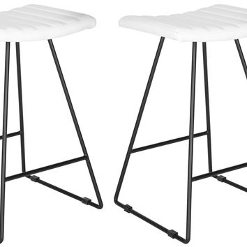 Set of Two Akito Counter Stools in White design by Safavieh