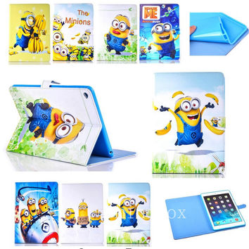 New Kid Cartoon Precious Milk Dad case cover for apple ipad mini 4 Despicable me case Minion Leather Cover