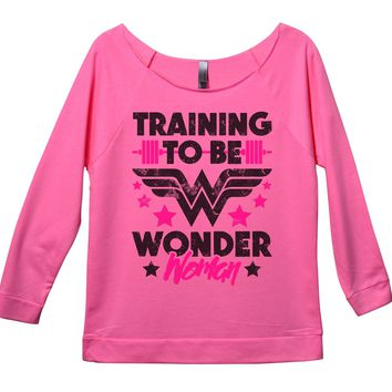 Training To Be Wonder Woman Womens 3/4 Long Sleeve Vintage Raw Edge Shirt