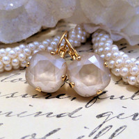 Simply Nude In Gold, Swarovski Square, Cushion Cut Earrings, Lever backs, Dangles,Drops, DKSJewelrydesigns