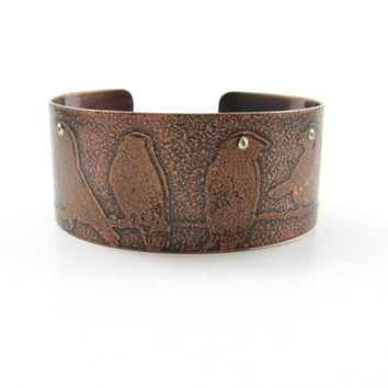Perched Birds Copper Etched Cuff Watching Birds Cuff Handmade Copper Jewelry Solid Copper Bird Cuff Adjustable Cuff Nature Watching Cuff