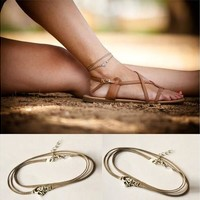 Fashion Beach Yoga Brown Cord Om Anklet Ankle Bracelet Foot Chain Jewelry (Color: Brown) [8069649543]