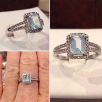 10k white gold blue topaz & diamonds ladie's ring   Vintage diamond white gold filigree ring   Size 8