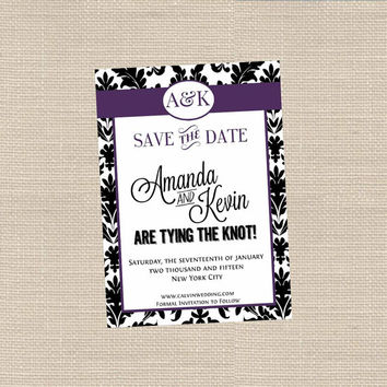Damask Invitation for Save the Date, Bridal Shower, Birthday etc Printable // Personalized