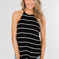 Striped Halter Tank Top- Black