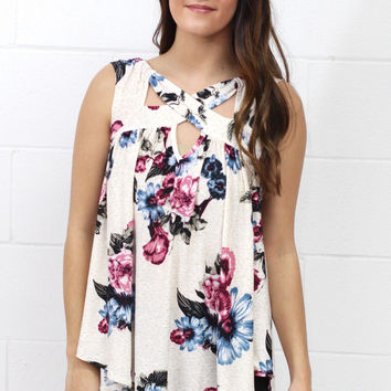 Off the Path Cut Out Floral Tank {Blue Mix}