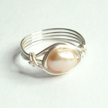 Pink Akoya Pearl Silver Wire Wrapped Ring