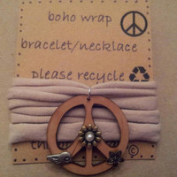 Wooden Peace Sign Natural Boho Wrap Re-purposed Recycled Bracelet/Necklace