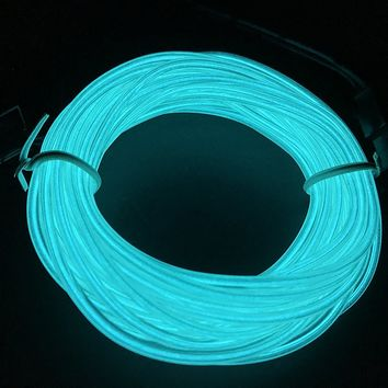 M.best USB Neon LED Light Glowing Electroluminescent Wire /El Wire for Automotive Interior Car Cosplay Decoration (15FT, Transparent Blue)