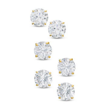 Cubic Zirconia Solitaire Stud Earrings Set in 10K Gold|Piercing Pagoda