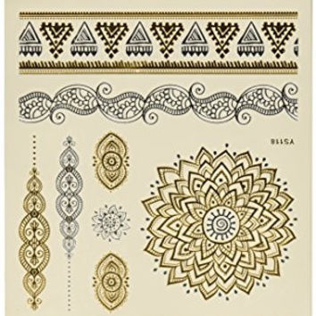 Wrapables Celebrity Inspired Temporary Labrynth Tattoos, Large, Metallic Gold Silver & Black