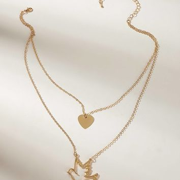 Dove & Heart Double Layered Pendant Necklace 1pc