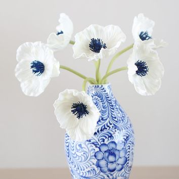 "Real Touch Poppy Bundle in White with Navy Center - 12"" Tall"