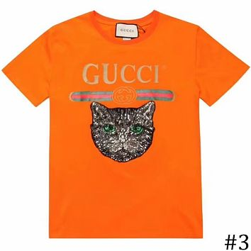 GUCCI 2018 new patch printing cat round neck short-sleeved T-shirt #3