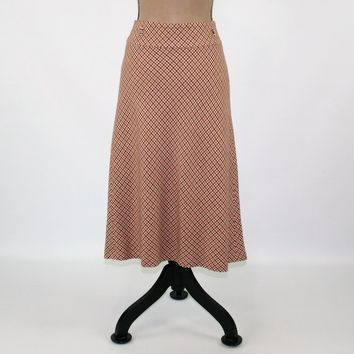742a0c2251 A Line Skirt Women Medium Herringbone Fall Wool Skirt Midi Orange and Black  Size 10 Skirt