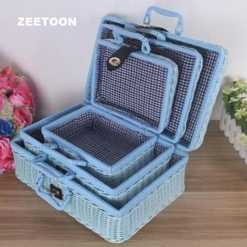 Vintage Rattan Handmade Weave Outdoor Travel Trunk Portable Storage Box Kung Fu Tea Set Picnic Suitcase Toy Basket Hand Bag New