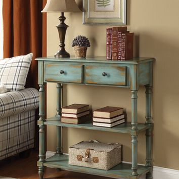 Laney collection antique green finish wood 2 shelf hall console table with drawers