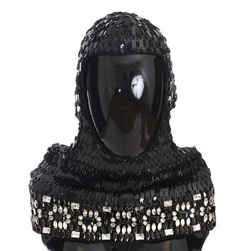 Dolce & Gabbana Black Knitted Wool Crystal Beaded Hood Scarf Hat