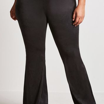 Plus Size Faux Suede Flared Pants