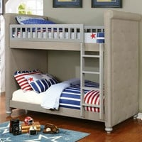 Sascha collection gray finish wood twin over twin bunk bed with padded head and foot boards