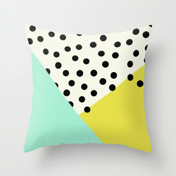 Mod dots and angles Throw Pillow by Allyson Johnson